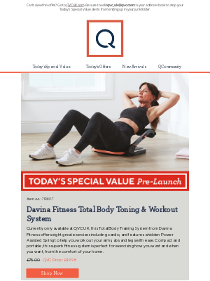 QVC (UK) - See Today's Special Value Pre-Launch: Davina Fitness Total Body Toning & Workout System