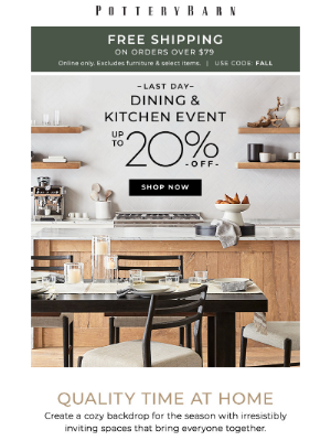 Pottery Barn - Last day! Save on dining & kitchen