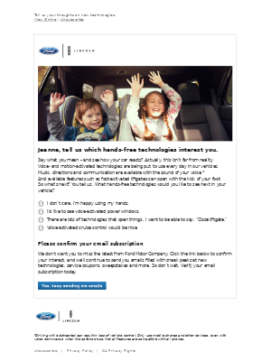 Ford Motor Company - We want and value your opinion