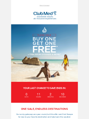 Club Med - Don't Miss Out: Last Day for BOGO All-Inclusive Vacations
