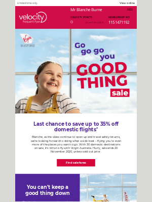 Velocity Frequent Flyer (AU) - Go go go you good thing sale