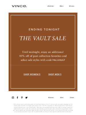 Vince - Last Chance to Enjoy Up to 80% Off