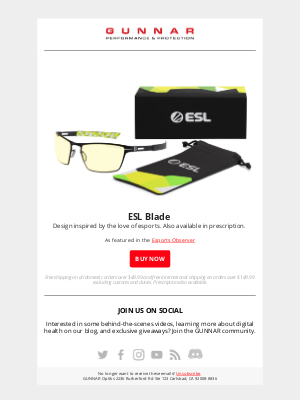 GUNNAR Optiks - ESL Blade ⚡  the first ever signature ESL gaming glasses