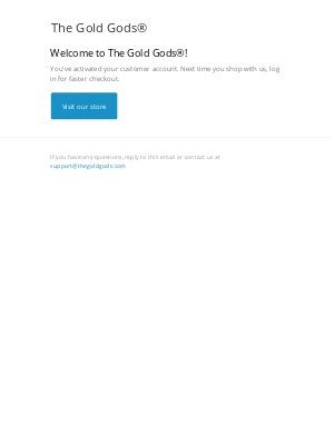 The Gold Gods - Customer account confirmation