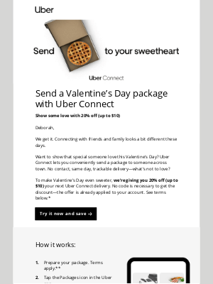 Uber - Save on package delivery with Uber Connect