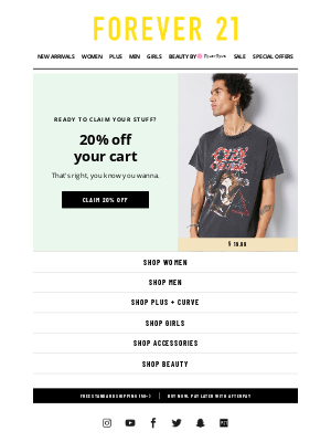 Forever 21 - Extra, extra: 20% off your cart is right here