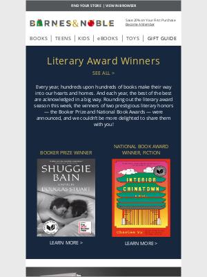 Barnes & Noble - Explore the Latest Literary Award Winners