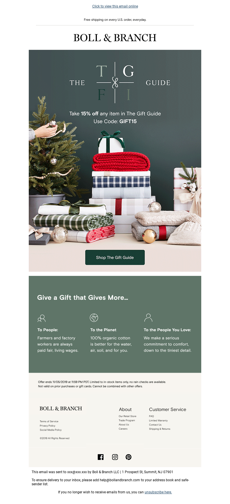Boll & Branch - 15% Off Every 🎁 Single 🎁 Gift 🎁!