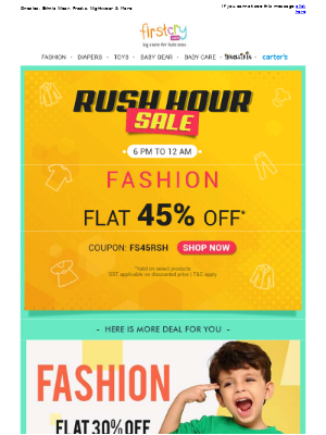 FirstCry (India) - Rush Hour Sale > Flat 45% OFF on Fashion