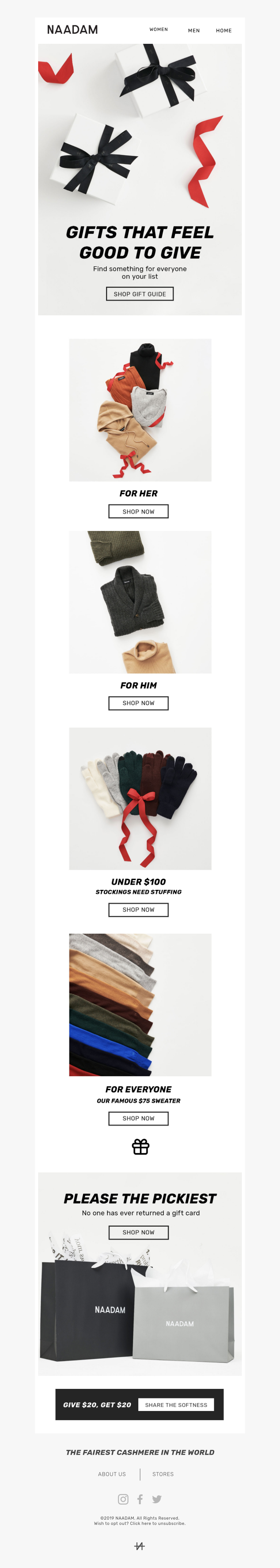 Gift guide email example sent by Naadam