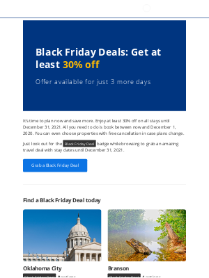 Booking - Jessica, it's finally Black Friday – get at least 30% off