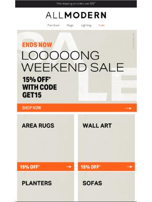 AllModern - 15% off* ◕  final hours ◕ area rug sale