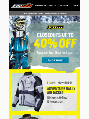 RevZilla - Up to 40% Off Klim Closeouts!