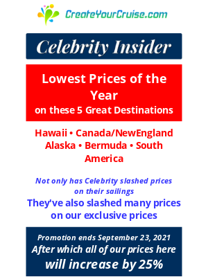 Norwegian Cruise Line - Bruce - Celebrity Insider - Lowest Prices Exclusive to 5 Great Destinations in 2022