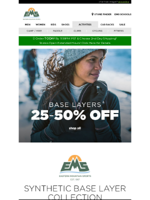 Eastern Mountain Sports - 20-50% OFF Smartwool & EMS Base Layers