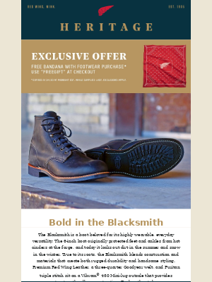 Red Wing Heritage - Exclusive Offer: Free Bandana