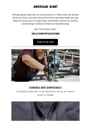 American Giant - Complete your order to support American-made