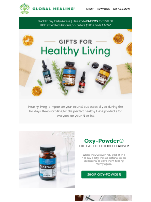 Global Healing Center - The Healthy Living Gift Guide is Here!