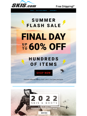Skis - Final Hours to Shop the FLASH SALE // Up to 60% OFF