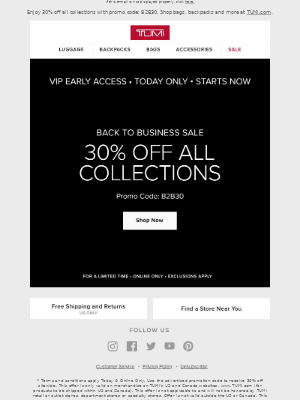 TUMI - Early Access: VIP Sale Event Now Live!