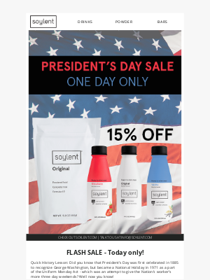 Soylent - One Day Sale! 15% OFF