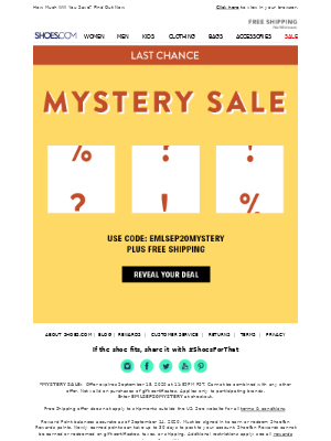 SHOES - Last Chance for Mystery Savings