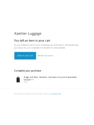 Kaehler Luggage - Complete your Purchase