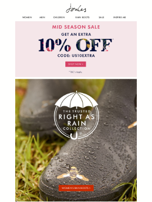 Joules (US) - Rain or shine (and don't forget an extra 10% off our Mid Season Sale)