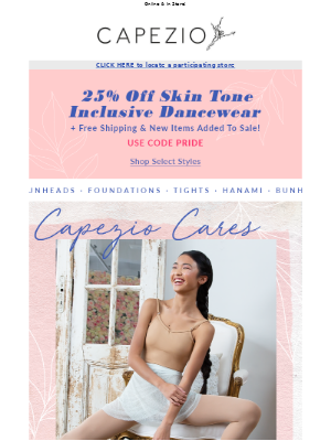 25% off + Free Shipping on top styles! #CapezioCares