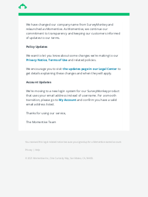 SurveyMonkey - SurveyMonkey is now Momentive and we updated our legal terms