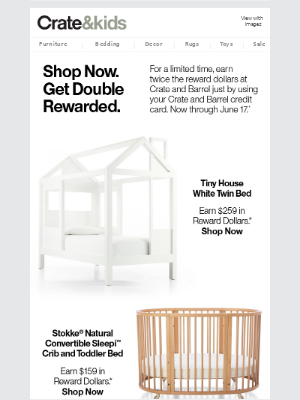 Limited Time: Crate and Barrel credit card = 2x Rewards. Learn More.
