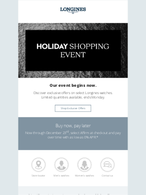 Longines Watch Co. - The Holiday Shopping Event begins now