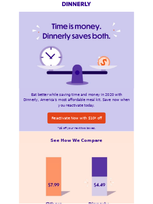 Win back email example from Dinnerly