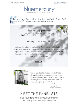 Bluemercury - Wellness special! Hear industry leaders like Dr. Barbara Sturm + Elle Macpherson at our exclusive, virtual roundtable!