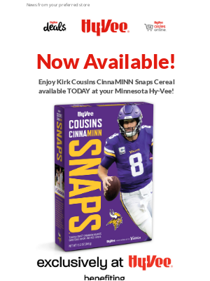 Hy-Vee - Bring Kirk Cousins to your Breakfast Table TODAY!