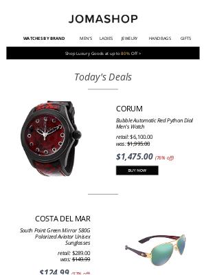 Jomashop - 🎱 TODAY'S DEAL: Corum Men's Auto $1475 | Calvin Klein Watch $50 | Costa Del Mar Sunglasses $125