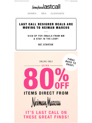 Neiman Marcus Last Call - DON'T MISS OUT! Extra 80% off items from Neiman Marcus