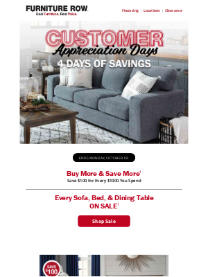 Furniture Row - Buy More + Save More† ends Monday