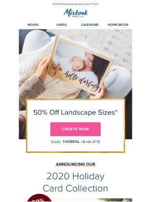 Mixbook - Announcing 2020 Holiday Cards + 50% Off