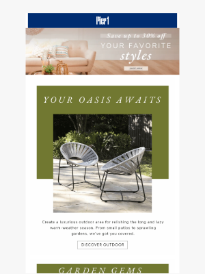 Pier 1 Imports - Save up to 30% off & upgrade your open-air spaces!