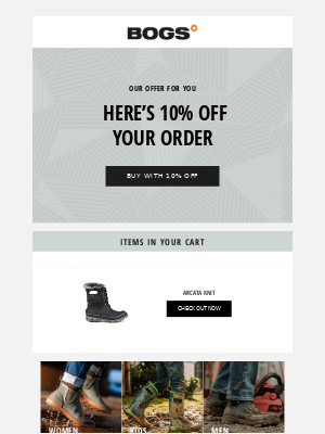 BOGS - Your order for 10% off