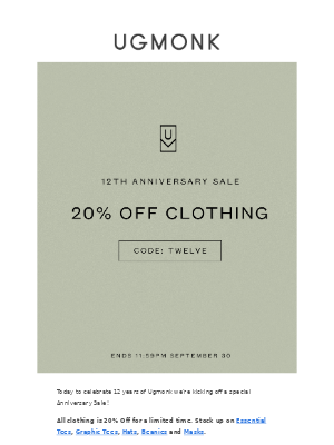 Ugmonk - Ugmonk 12th Anniversary Sale — 20% Off All Clothing