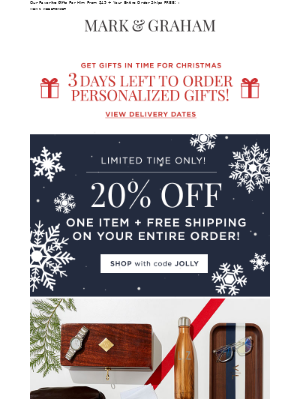 20% Off + FREE Shipping 🎁 There's Still Time To Order Personalized Gifts!