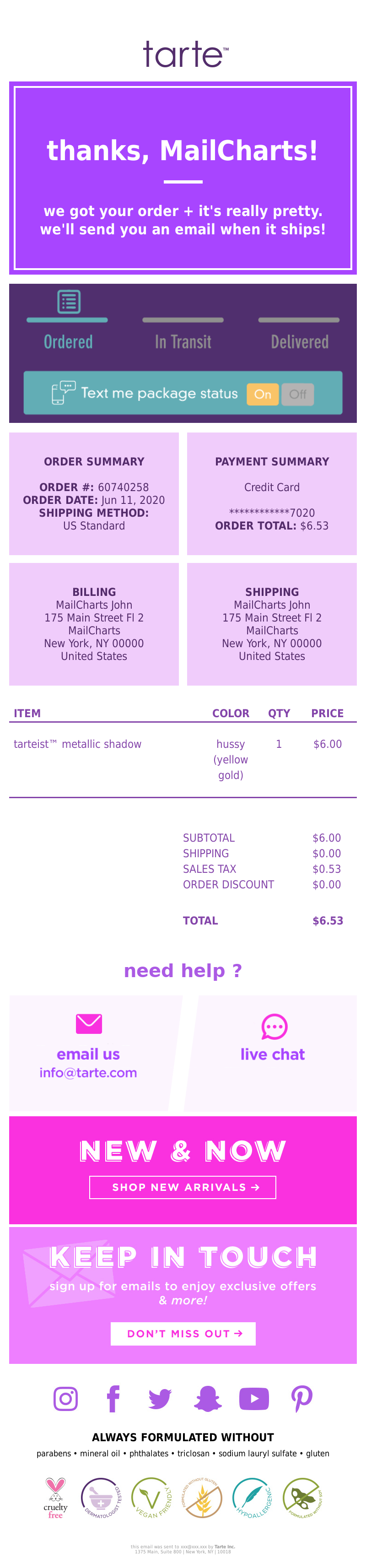 Tarte Cosmetics - GOT IT! Order Confirmation 60740258