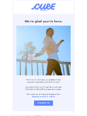 Welcome email from cure with a one-time offer code