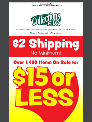 Collections Etc. - Grab A Great DEAL: $14.99 Or LESS