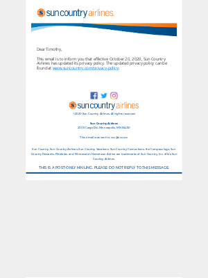 Sun Country Airlines - Updates to Sun Country Airlines Privacy Policy