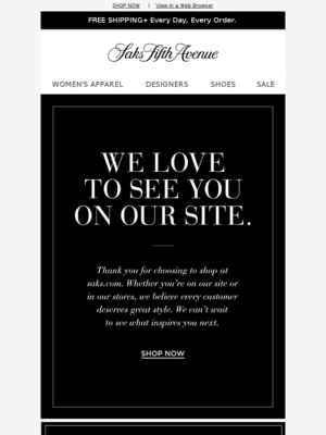 Thank You From Saks Fifth Avenue