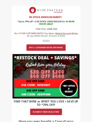 Wine Chateau - Re:  restock announcement