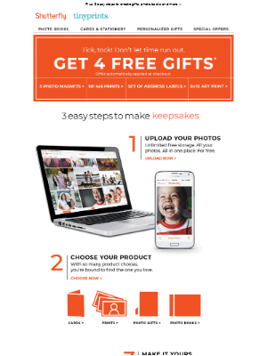 Shutterfly - Time's running out to get your 4 FREE gifts